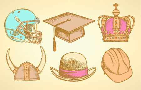 Sketch crown, gentleman hat, viking, fotball helmet and graduation hat