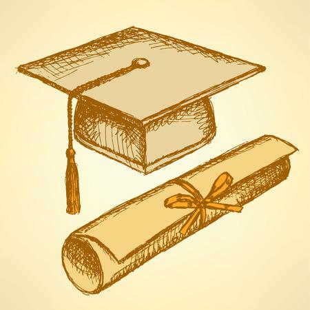 Chapeau de graduation Sketch et diplôme défilement avec ruban