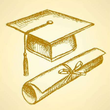 Chapeau de graduation Sketch et diplôme défilement avec ruban Vecteurs