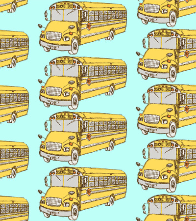 Sketch school bus in vintage style, seamless pattern  Vector