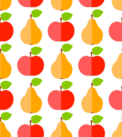 Cute flat apples and pears, food seamless pattern  Vector