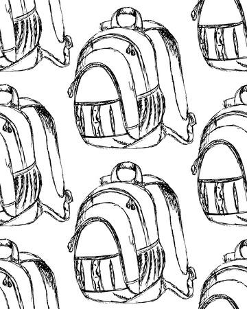 Sketch cute school backpack in vintage style, seamless pattern Vector
