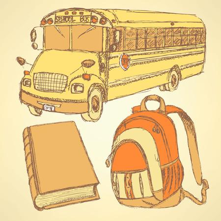 Sketch backpack, book and school bus, set  Vector