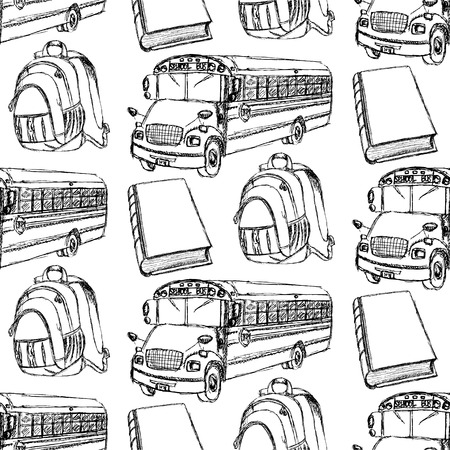 Sketch backpack, book and school bus, seamless pattern   Vector
