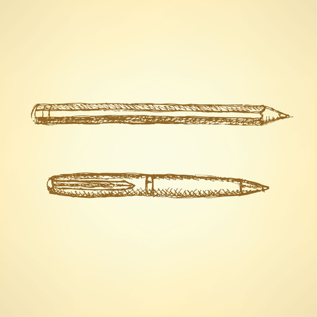 Sketch cute pen and pencil in vintage style, background  Vector