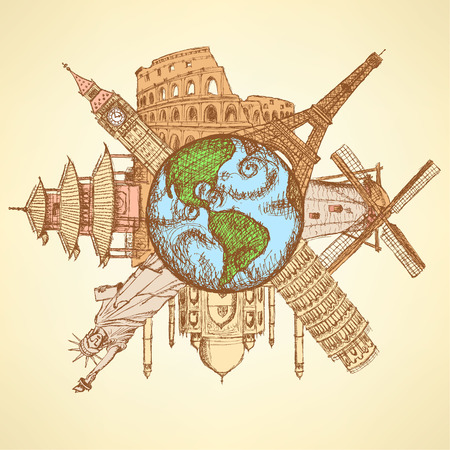 Sketch famous buildings around planet Earth, background  Vector