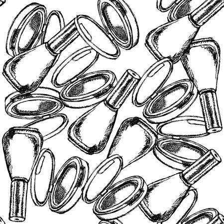 Sketch powder compact and nail polish, seamless pattern Vector