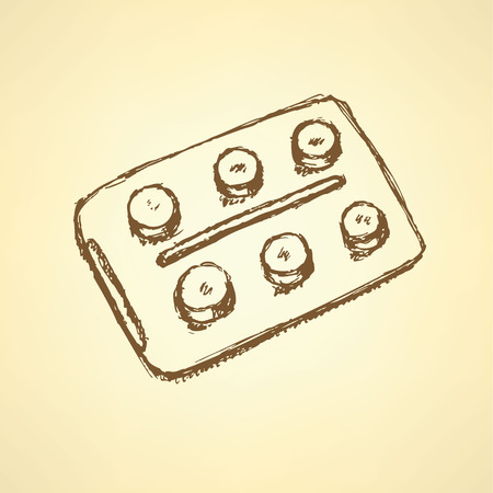 hormonal: Sketch tablets pachege in vintage style, background