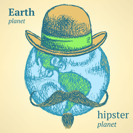 Sketch Earth planet in hipster style, background  Vector