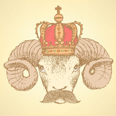 Sketch ram in crown with mustache, background Vector