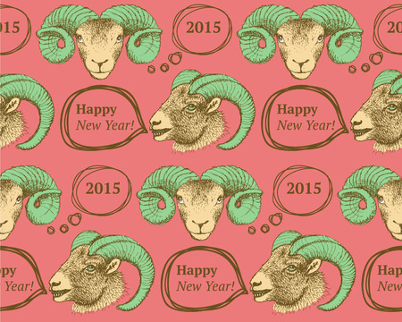 Sketch New Year ram in vintage style, seamless pattern Vector