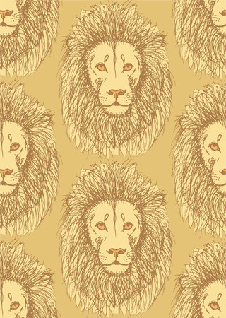 Sketch cute lion in vintage style, seamless pattern Vector