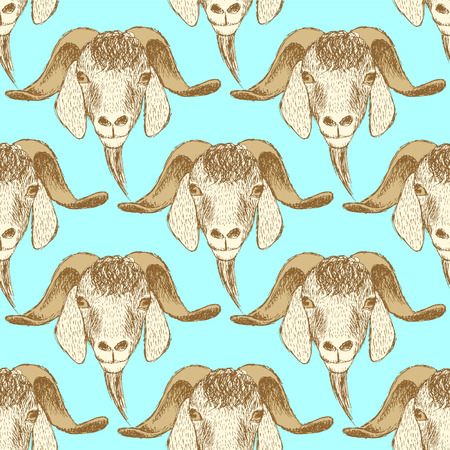 Sketch cute goat head in vintage style, seamless pattern Vector