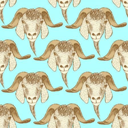 goat head: Sketch cute goat head in vintage style, seamless pattern Illustration