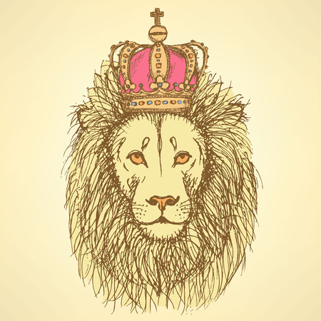 ancient lion: Sketch cute lion with crown in vintage style, background