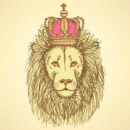Sketch lion mignon avec la couronne dans le style vintage, fond Banque d'images - 32496713
