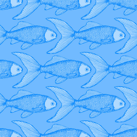 Fish cute seamless pattern in vintage style Vector