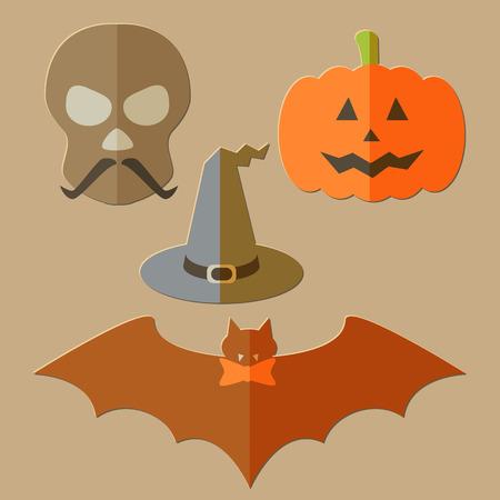 Flat scull, pumkin, hat and bat, evil Halloween background Vector