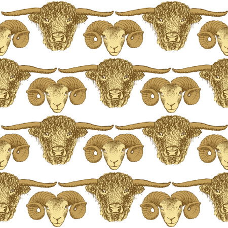 Sketch bull and ram head in vintage style, seamless pattern