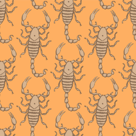 Sketch horrible scorpion in vintage style, seamless pattern Vector