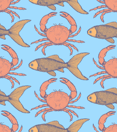 Sketch cute crab and fish in vintage style, seamless pattern