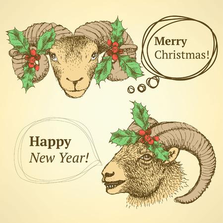 goat head: Sketch cute goat head with mistletoe in vintage style, background Illustration