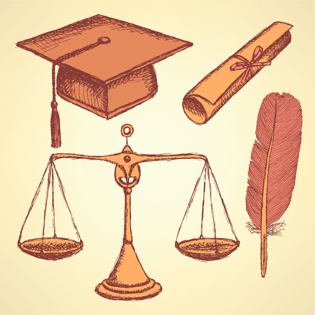 Sketch justice and education set in vintage style Vector