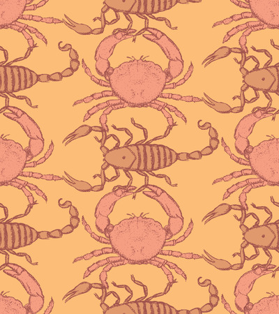 Sketch crab and scorpion in vintage style, seamless pattern Vector