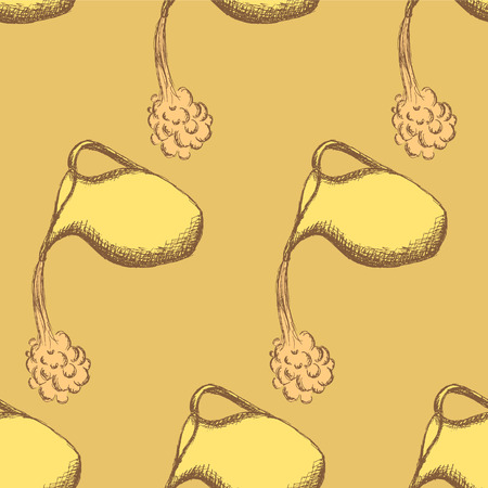 colorful vintage: Sketch pitcher in vintage style, seamless pattern Illustration