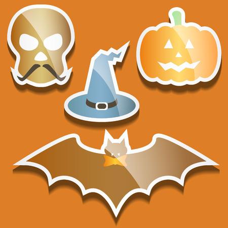 Flat scull, pumpkin, hat and bat, evil Halloween background