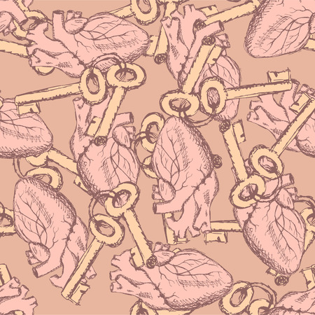 Cute vector keys and hearts seamless pattern in vintage style Vector