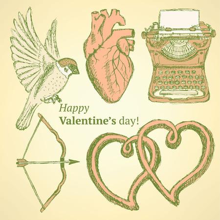 Sketch cute Valentine set in vintage style Vector