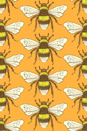 Sketch bumble bee in vintage style, seamless pattern