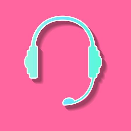 Flat cute earpones in sticker style, background Vector