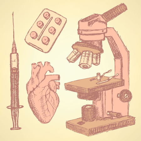 Sketch medical set in vintage style, vector Vector