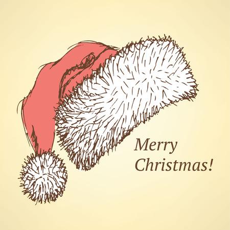 christmas hat: Christmas hat in vintage style, sketch vector postcard