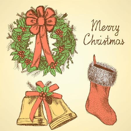 Sketch Christmas set in vintage style, vector Vector