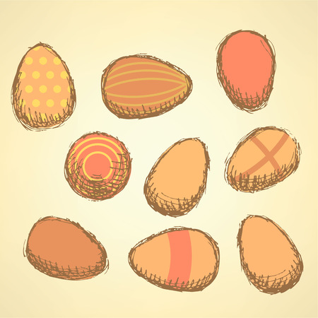 Sketch Easter eggs set in vintage style, vector Vector
