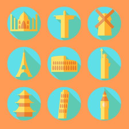 mimari ve binalar: Gölge Düz mimari yapılar simgeler, vektör