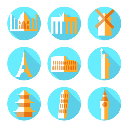 Flat architecture icons, vector with flat shadow Vector