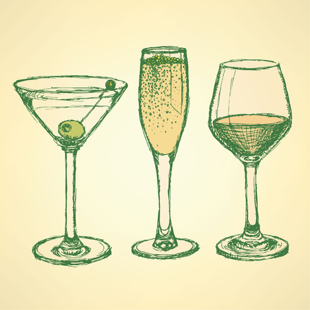 Sketch martini, champagne and wine glass in vintage style, vector