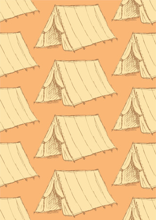 touristic: Sketch touristic tent in vintage style, vector seamless pattern Illustration