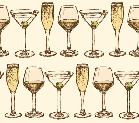 Sketch martini, champagne and wine glass in vintage style, vector seamless pattern Illustration