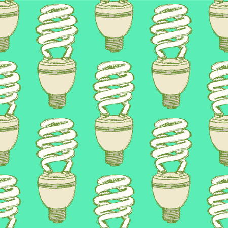 Sketch economic light bulb in vintage style, vector seamless pattern Vector
