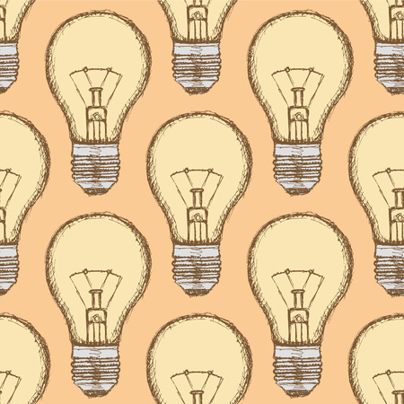 Sketch light bulb in vintage style, vector seamless pattern Vector