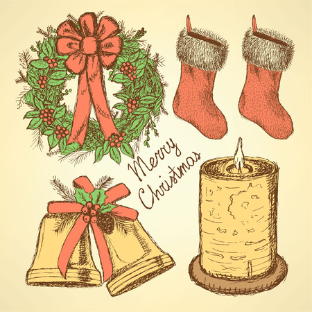 Sketch Christmas set in vintage style Vector