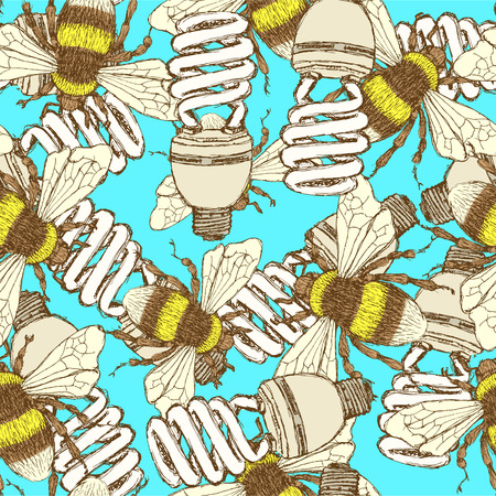 Sketch economic light bulb with bee, vector seamless pattern Vector