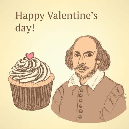 william shakespeare: Sketch Valentines set in vintage style, vector