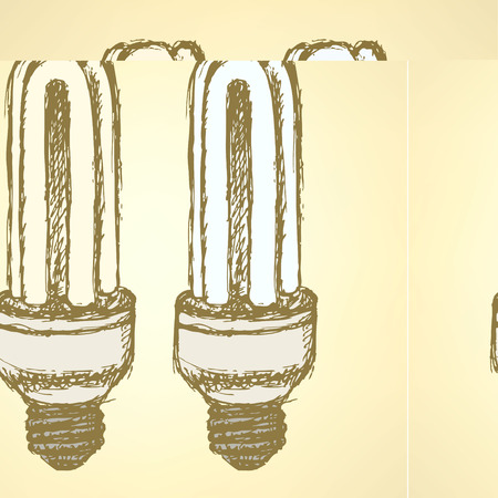 compact fluorescent lightbulb: Sketch economic light bulb in vintage style, vector