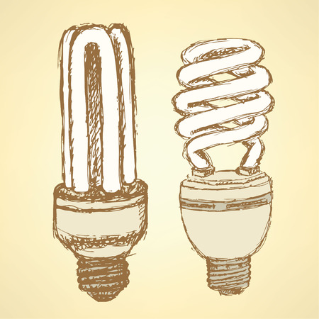 fluorescent tube: Sketch economic light bulb in vintage style, vector